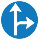 Fortsæt ligeud eller drej til højre påbudt. Påbudsskilt