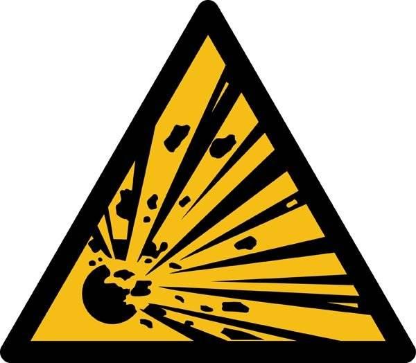 Eksplosionsfare ISO_7010_W002. Advarselsskilt