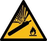 Eksplosionsfare ved ild ISO_7010_W029 gasflaske. Advarselsskilt