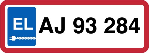 P-Skilt - El bil nummerplade