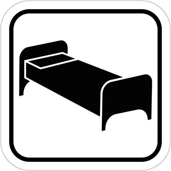 Enkelt seng piktogram skilt