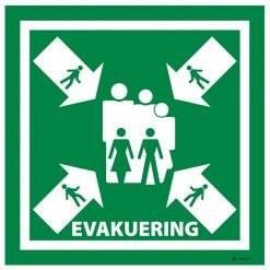 Evakuering. Redningsskilt