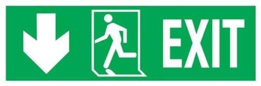 Exit-run Left-arrow Left Down Redningsskilte.