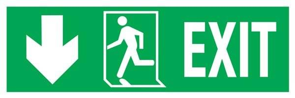 Exit-run Left-arrow Left Down Redningsskilte.