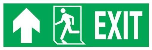 Exit-run Left-arrow Up-left Redningsskilte.