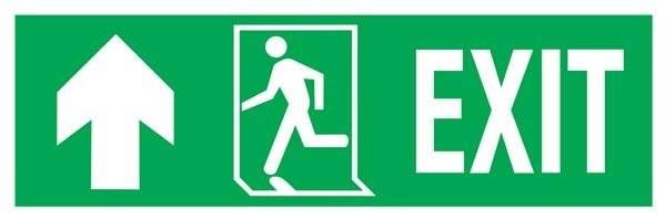 Exit-run Left-arrow Up-left Redningsskilte.