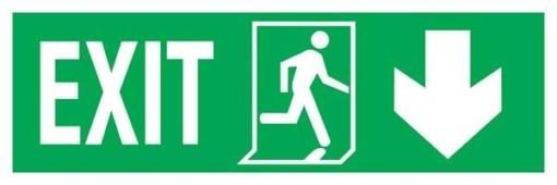 Exit Left-man Run Right-arrow Down. Redningsskilte.