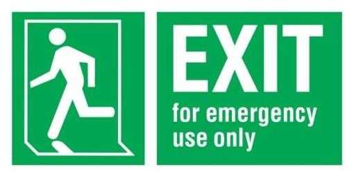 Exit Man Running Left For Emergency use Only Redningsskilte