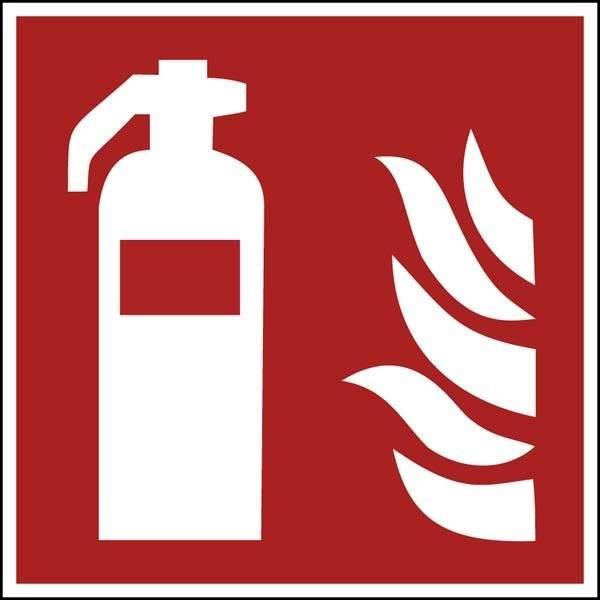 Brandslukker. Brandskilt F001 ISO 7010