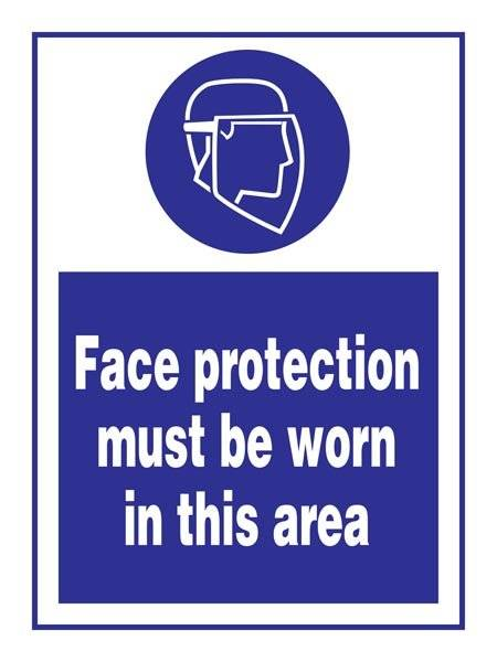 Face Protectio Must Be Worn In This Area: Påbudsskilt