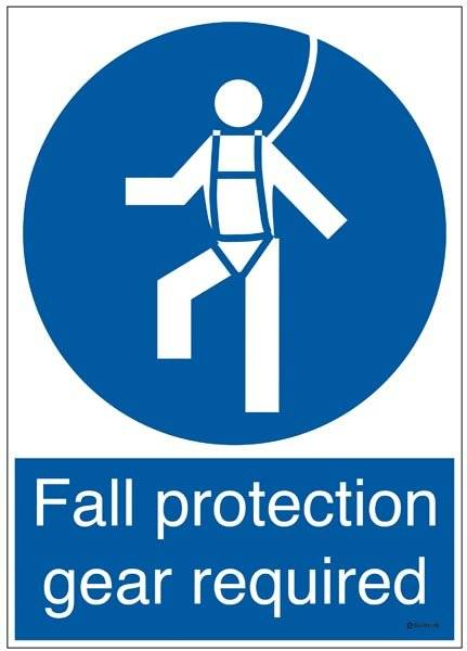 Fall protection gear required: Påbudsskilt