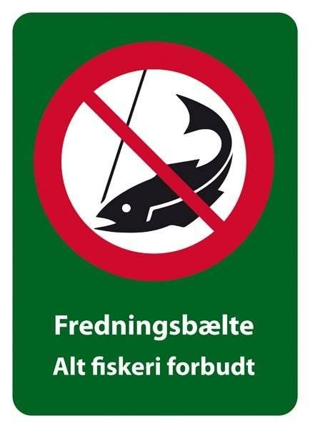 Forbudsskilt - Fredningsbælte Alt fiskeri forbudt