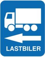 Lastbiler til venstre. skilt