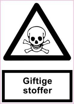 Advarselsskilt med underskilt - Giftstoffer (sort/hvid)