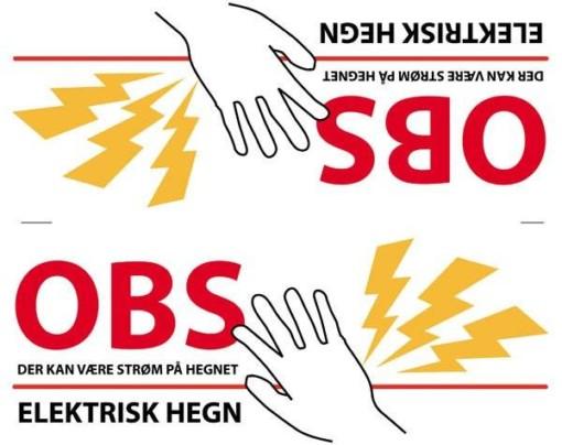 Advarselsskilt - Elektrisk hegn (dobbeltskilt)