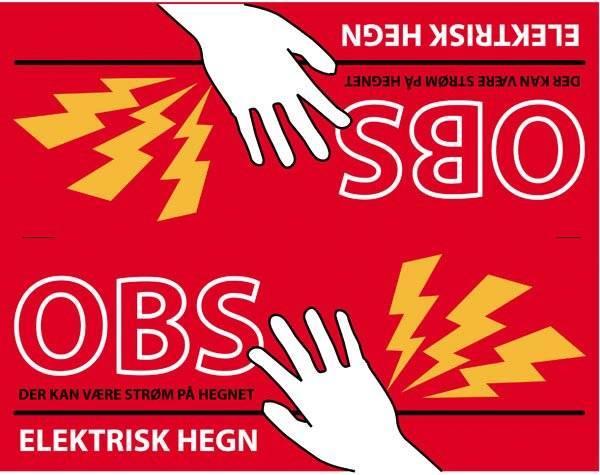 Advarselsskilt - Elektrisk hegn (dobbeltskilt rød)