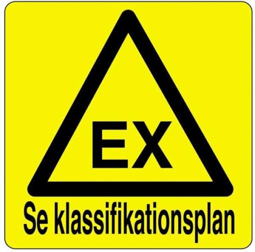 Se Klassifikationsplan advarselsskilt. Graveret skilt