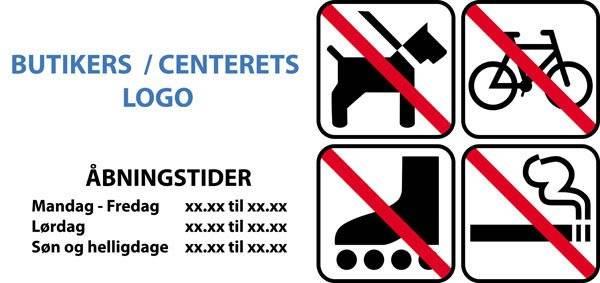 Forbuds piktogrammer m Åbningstider Logo m rammer højkant. Skilt