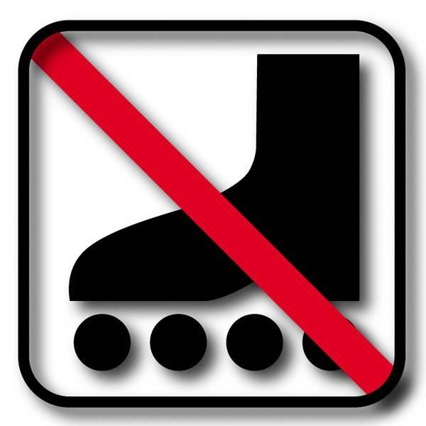 Rulleskøjte forbuds piktogram skilt