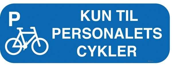 Kun til personalets cykler m P Blå. Skilt Firkantet.