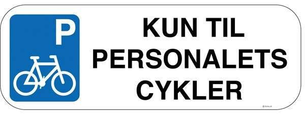 Kun til personalets cykler m P . Skilt Firkantet.