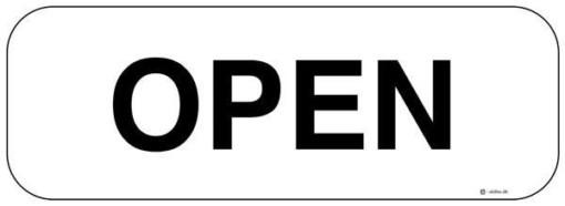 Open Hvid. Skilt