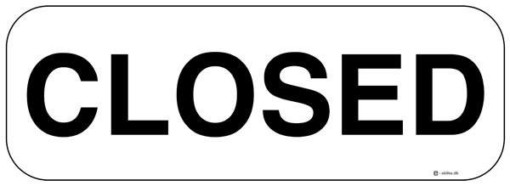 Closed Hvid. Skilt