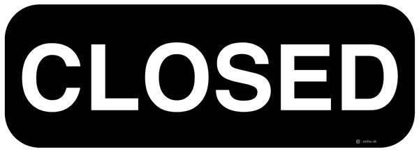 Closed (sort) skilt