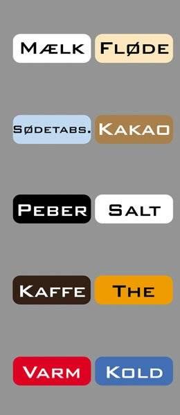 Diverse Køkken etiketter varme kolde drikke3BankGothicBT