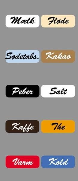 Diverse Køkken etiketter varme kolde drikke3BrushScriptSM