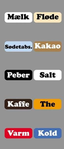 Diverse Køkken etiketter varme kolde drikke3CooperBlack