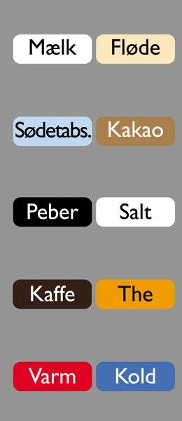 Diverse Køkken etiketter varme kolde drikke3GillSans
