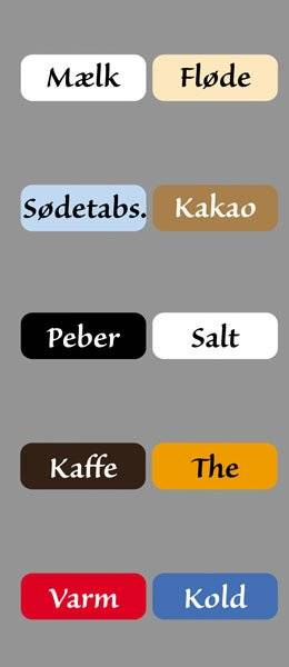 Diverse Køkken etiketter varme kolde drikke3SanvitoPro