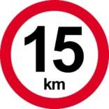 15 km. Hastighedsbegrænsning skilt