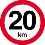 20 km. Hastighedsbegrænsning skilt