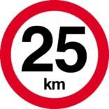 25 km. Hastighedsbegrænsning skilt
