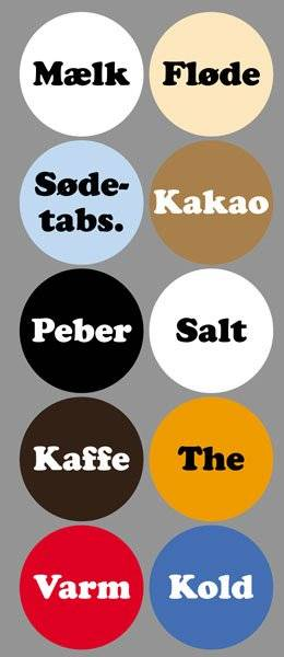 Diverse Køkken etiketter varme kolde drikke2CooperBlack