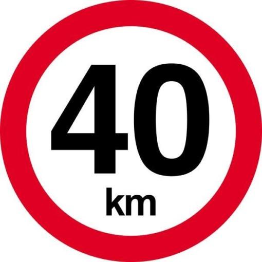 40 km.Hastighedsbegrænsnings skilt
