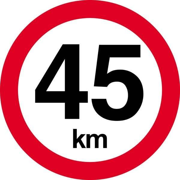 45 km. Hastighedsbegrænsning skilt