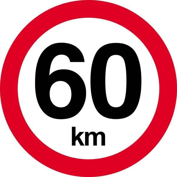 60 km. Hastighedsbegrænsning skilt