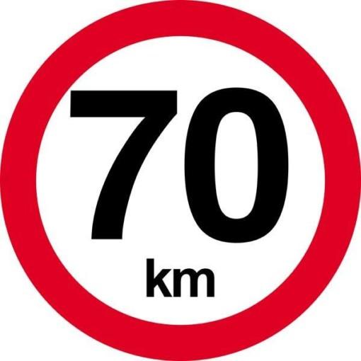 70 km.Hastighedsbegrænsnings skilt