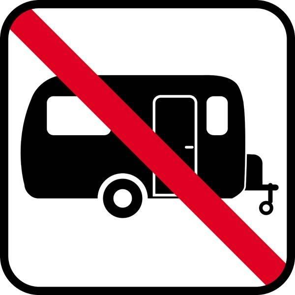 Campingvogns forbud skilt  - piktogram