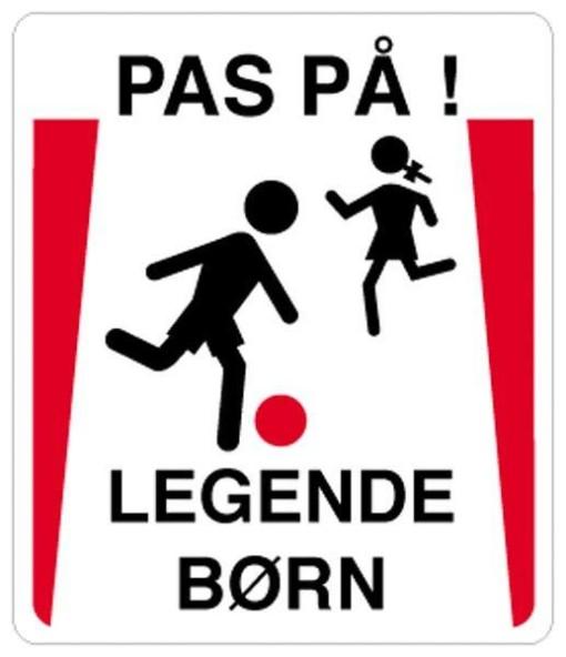 Pas på legende børn. Skilt