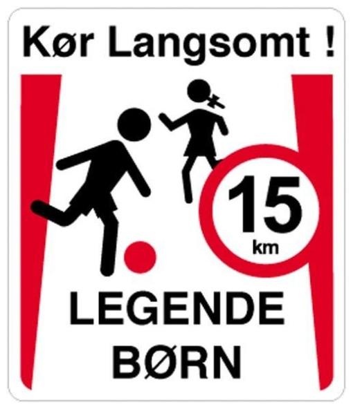 Kør langsomt legende børn 15 km. Skilt