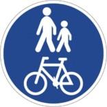 Fælles cykel gangsti. Påbudsskilt