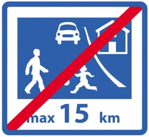 Legende børn max15 km ophører. Skilt