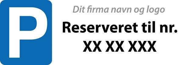 P reserveret til nr. firma Skåret skilt