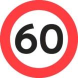 C55 Hastighedsbegrænsning 60 km skilt