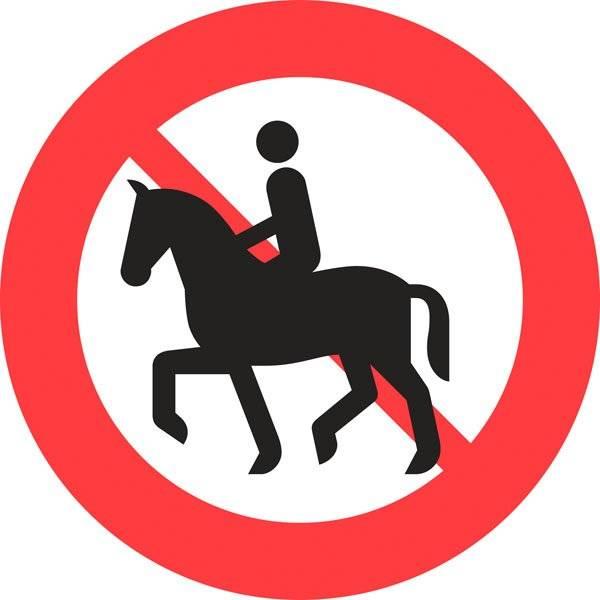 C26 Ridning og føring af hest forbudt. Forbudsskilt