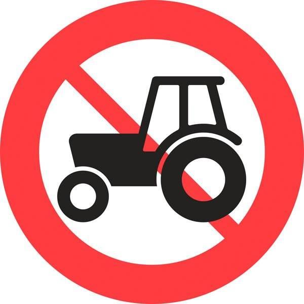 C24 Traktor og motorredskab forbudt. Skilt